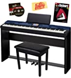 Casio Privia PX-560 Digital Piano - Blue Bundle with CS-67 Stand, SP-33 Pedal, Furniture Bench, Instructional Book, Instructional DVD, and Austin Bazaar Polishing Cloth