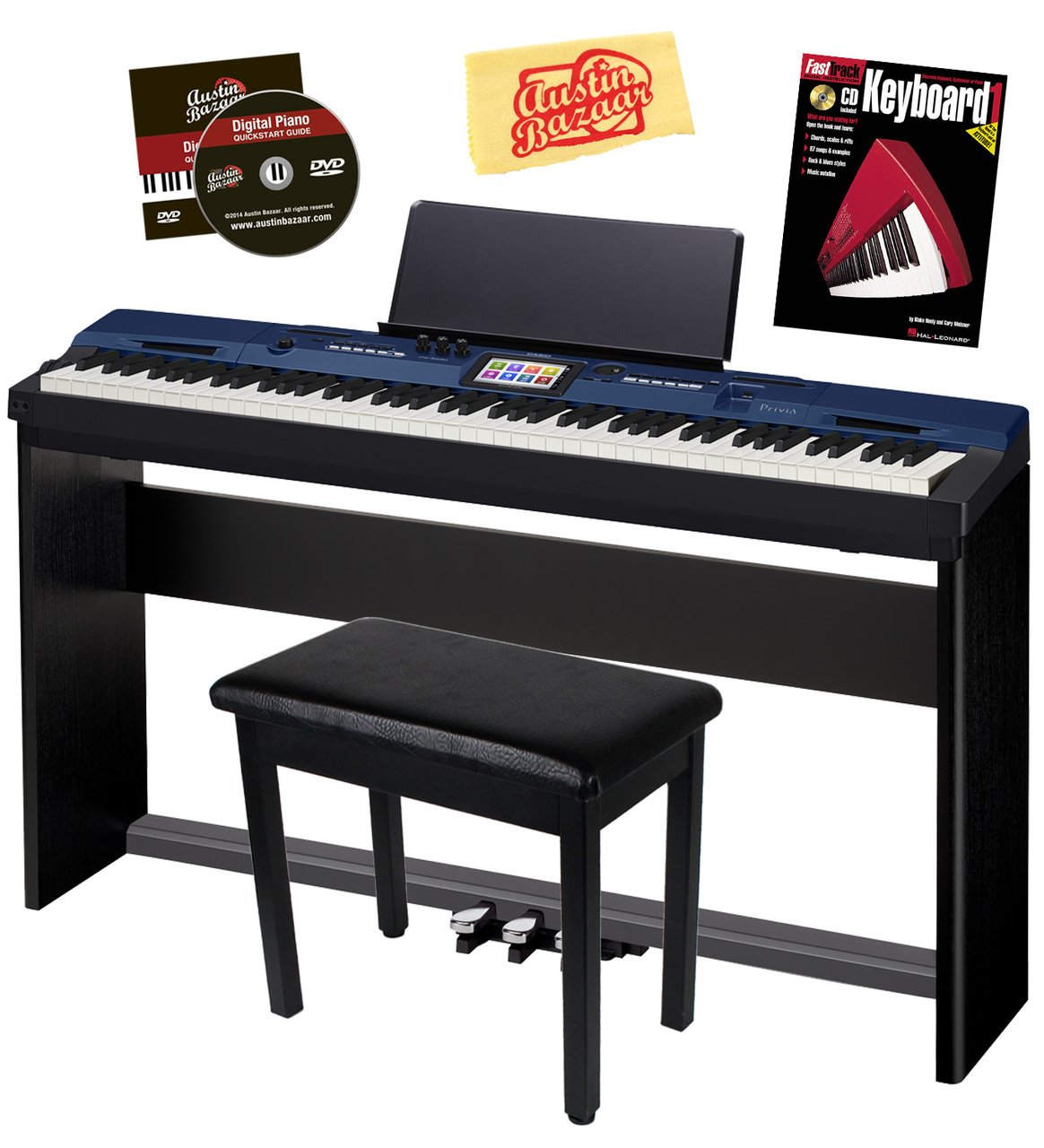 Casio Privia PX-560 Digital Piano - Blue Bundle with CS-67 Stand, SP-33 Pedal, Furniture Bench, Instructional Book, Austin Bazaar Instructional DVD, and Polishing Cloth by Casio