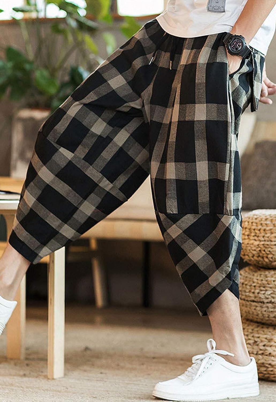 Amazon Com Flygo Harem Capri Pantalones Cortos Casuales Holgados A Cuadros Para Hombre Clothing