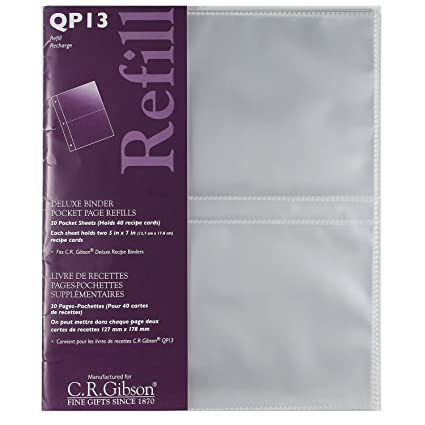 amazon com cr gibson qp 13 deluxe binder pocket page refills 20