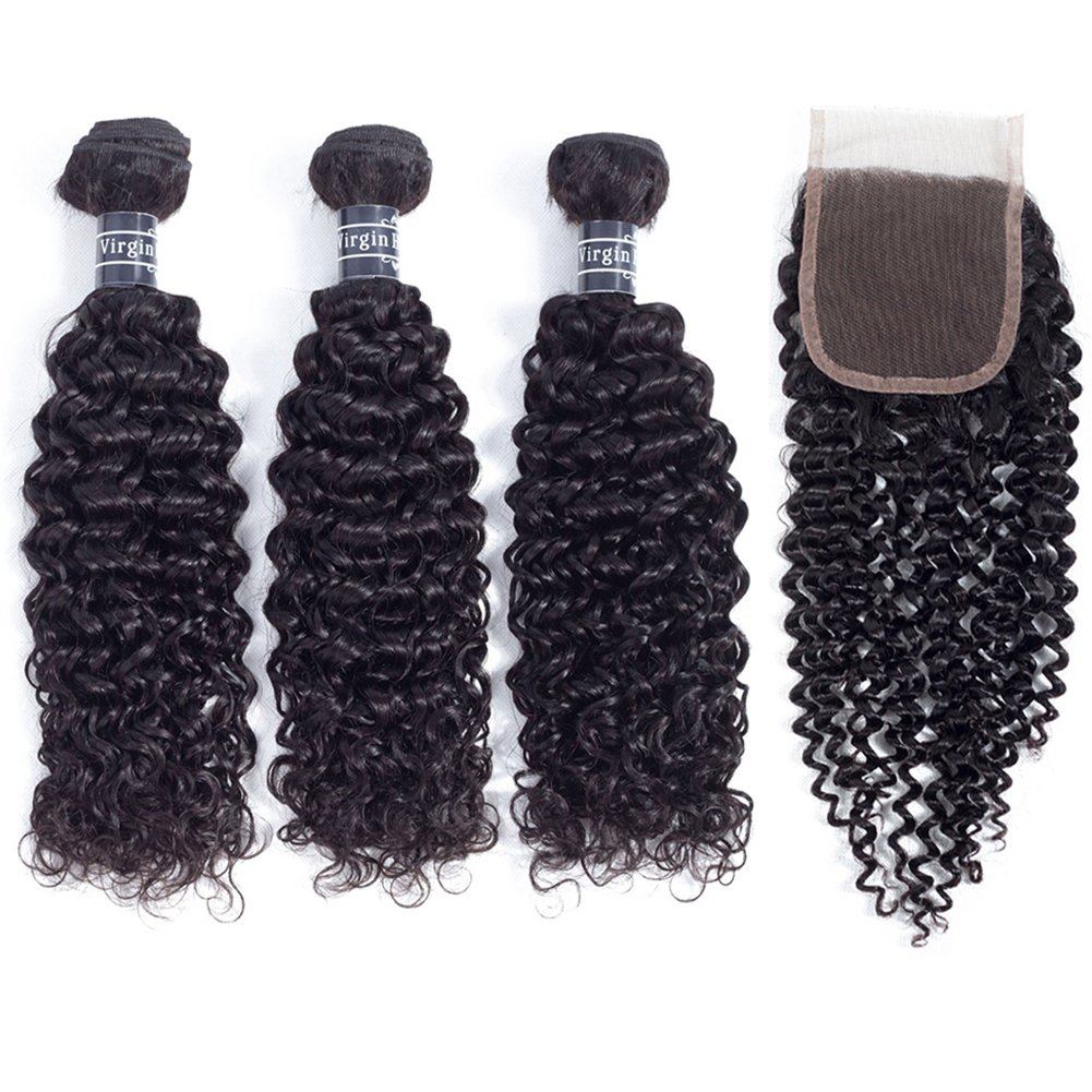 Amella Hair 10A Brazilian Virgin Curly Hair Weave 3 Bundles with Lace Closure Free Part 4x4 100% Unprocessed Brazilian Kinky Curly Hair Weave Bundles Natural Color(16 18 20+14inch) by Amella (Image #2)