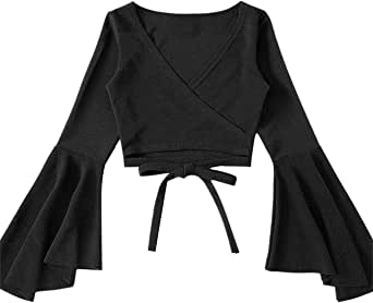 SOLY HUX Women's Surplice V-Neck Long Bell Sleeve Wrap Tie Back Crop Top Blouse