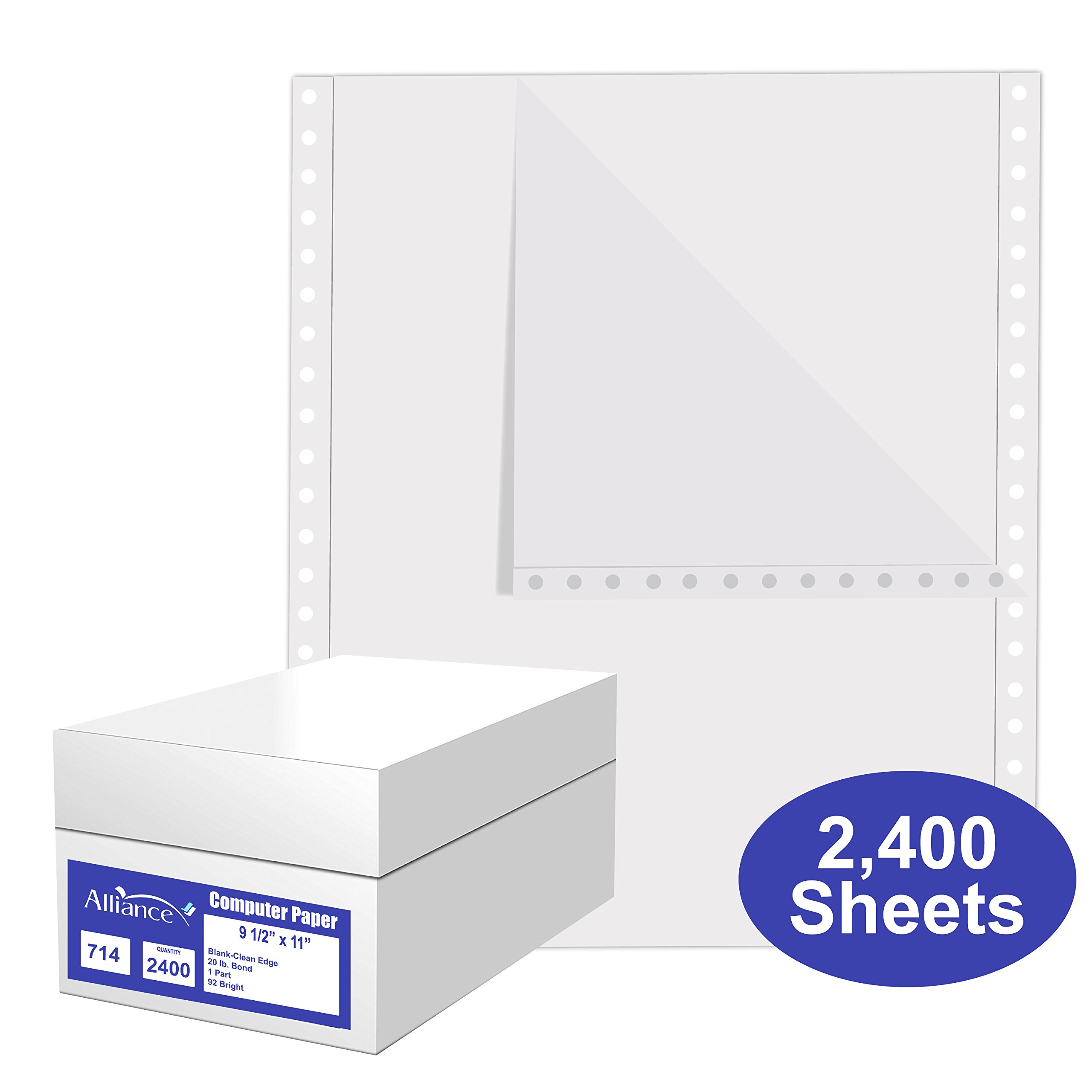 Alliance Continuous Computer Paper, 9.5 x 11, Blank Clean Perforated Edge 1-Part, 92 Bright, 20 lb, 2,400 Sheets (SKU 77714) - Made In The USA by Alliance
