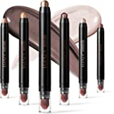 LUXAZA 6 PCS Brown and Neutral Metallic Eyeshadow Stick,Soft & Smooth Cream Shimmer Eyeshadow Pencil Crayon,Pro Waterproof &