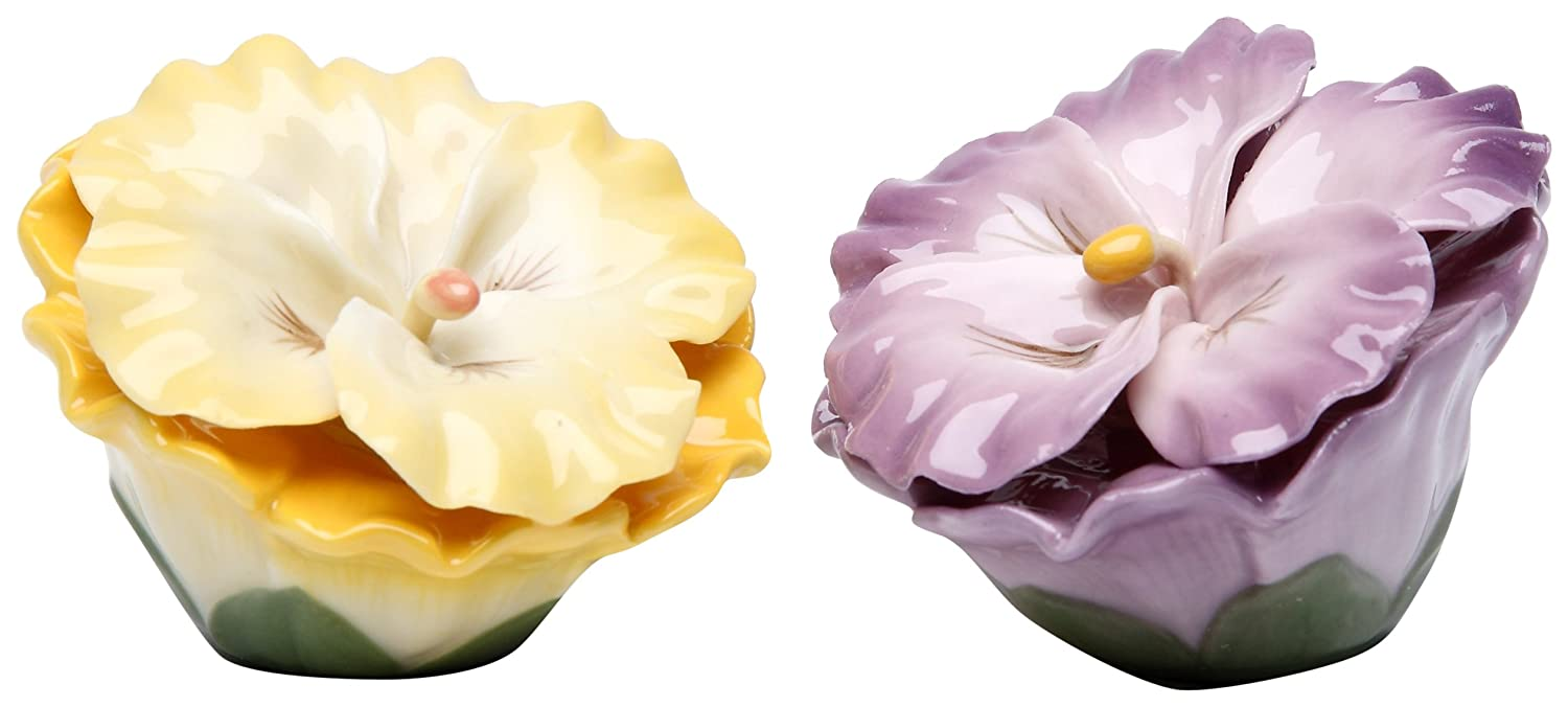 2.5 Inch Yellow and Purple Pansy Flowers Salt and Pepper Shaker Set, StealStreet SS-CG-20734