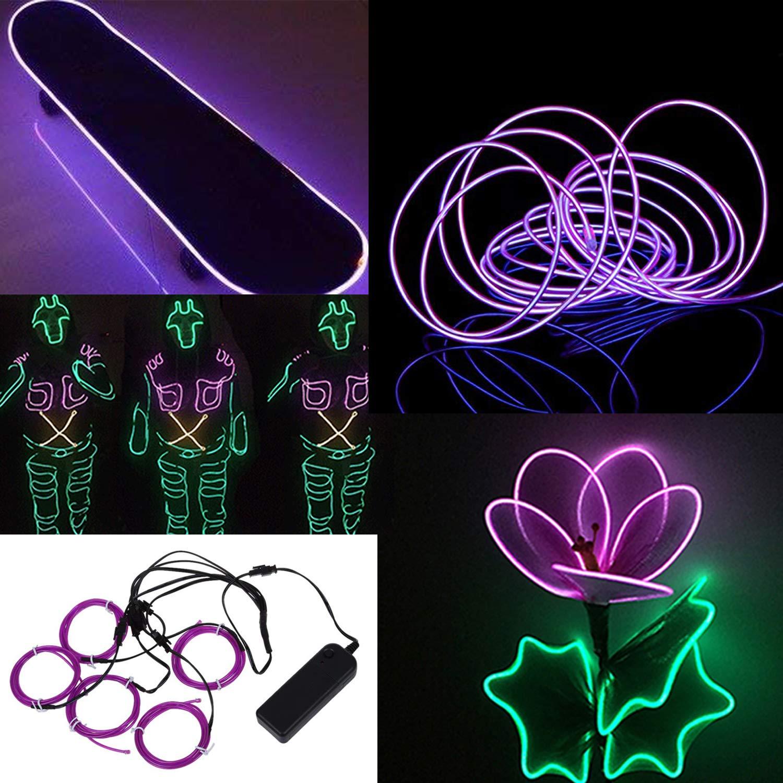SATISFIED 5 x 1M Neon Beleuchtung Wei/ß EL Wire Kabel,Neon Seil Lichter,flexible Neonlicht f/ür DIY Weihnachtsfeiern Rave Partys Halloween Kost/üm