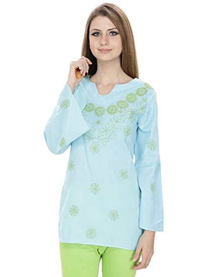 0275550ffa Nazrana Blue Lucknowi Chikankari Phanda and Shadow work Large Kurti ...