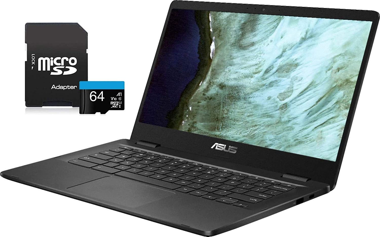 "2020 Newest ASUS Chromebook Laptop, 14"" HD LED-Backlit Screen, Intel Celeron N3350 Processor, 4GB Memory, 32GB eMMC SSD, Wi-Fi, Bluetooth, Webcam, Online Class, Chrome OS, KKE 64GB MicroSD Card, Grey"