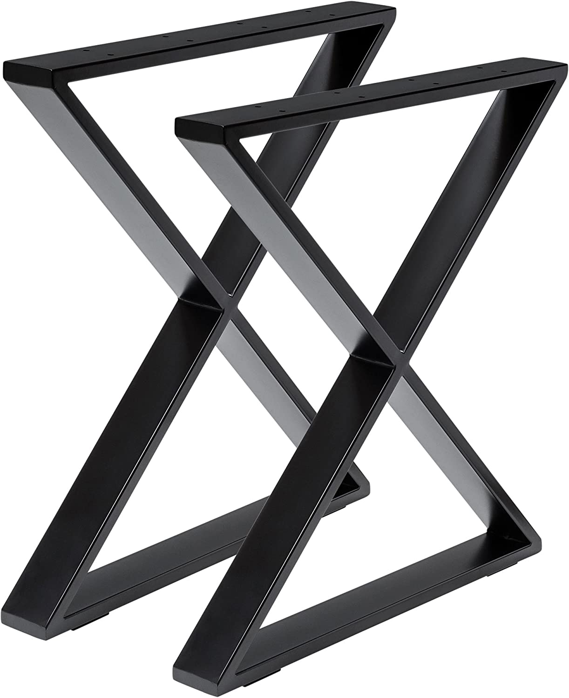 Madera werk24 mesa estructura tux405 Acero Negro Cruz X estructura ...