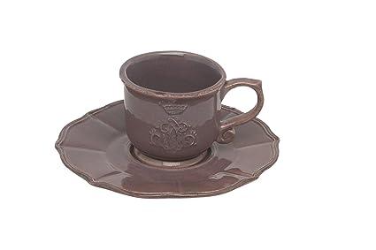 Corona Tavola taza de café y platillo en Viola Marrón por Virginia Casa