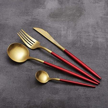XiYon 4 Piezas/Set Juego de Cubiertos de Oro Blanco Cuchillo Negro Tenedor Juego de Cubiertos de Acero Cubiertos de Mesa Cubiertos Cubiertos de Mesa Vajilla Cocina , Oro Rojo: Amazon.es: Hogar