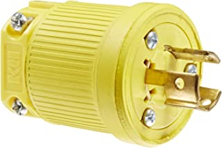 product image for KH Industries PL615DF Rubber/Polycarbonate Rewireable Flip Seal Locking Blade Plug, 2 Pole/3 Wire, 15 amps, 250V AC, Yellow