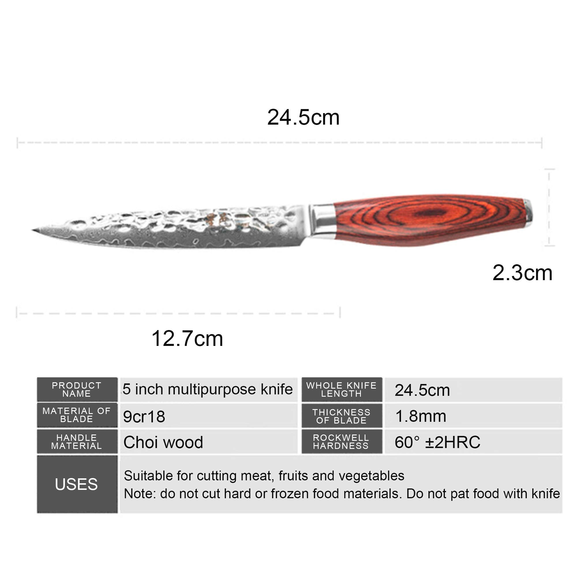 Chef's knife Damascus multipurpose knife(5 inch knife) by FZ (Image #7)