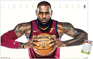 "Trends International Cleveland Cavaliers-Lebron James Mount Wall Poster, 22.375"" x 34"", Premium Poster & Mount Bundle"