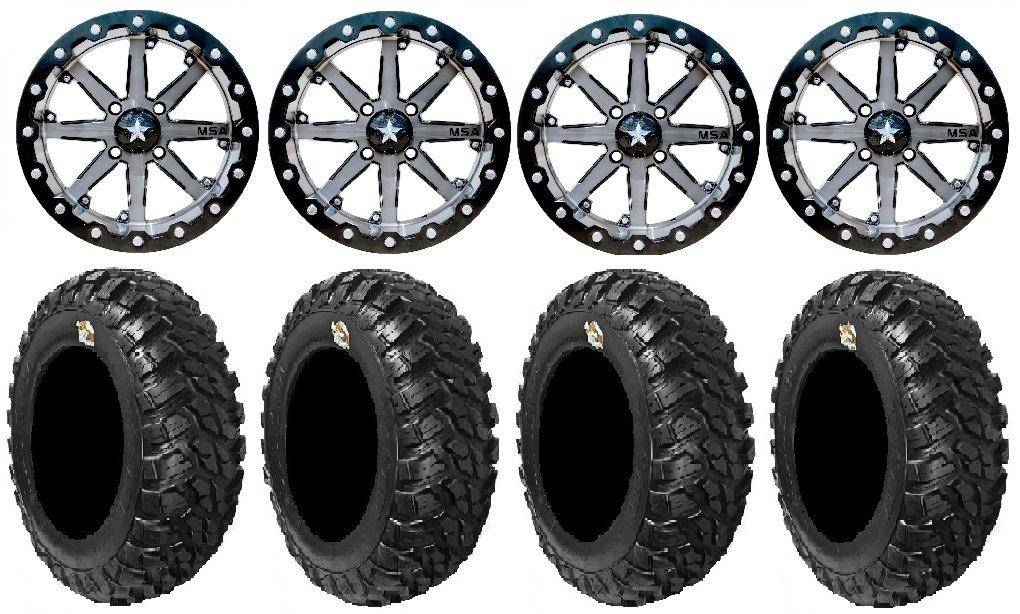Bundle - 9 Items: MSA Lok 14'' ATV Wheels 32'' Kanati Mongrel Tires [4x110 Bolt Pattern 10mmx1.25 Lug Kit]