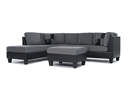3 Piece Modern Reversible Microfiber / Faux Leather Sectional Sofa Set W/  Ottoman (