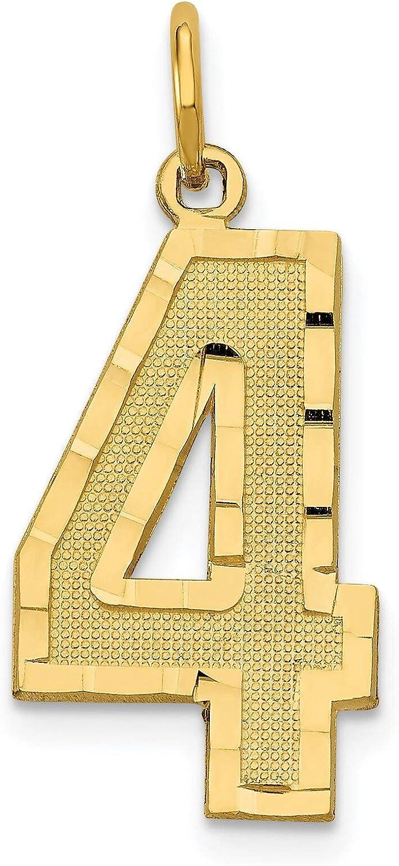 14k Yellow Gold Medium Diamond-cut Number 13 Charm