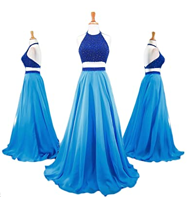 MarryingHoney Two Piece Chiffon Halter Bead Evening Dresses Backless Ruffled Party Gowns LS408 - -