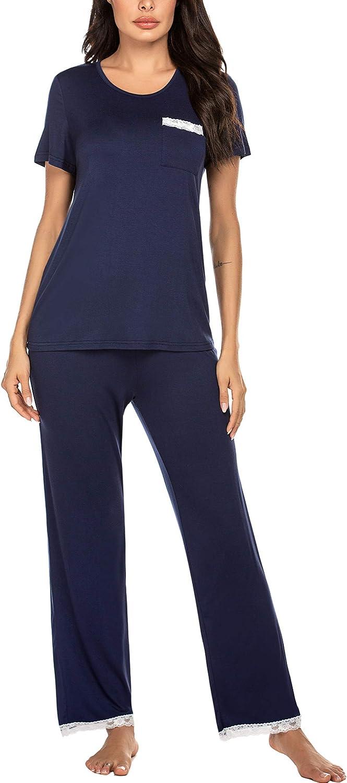 Ekouaer Womens Pajama Set Lace Back Short Sleeve Top /& Pants Sleepwear Pjs Sets S-XXL