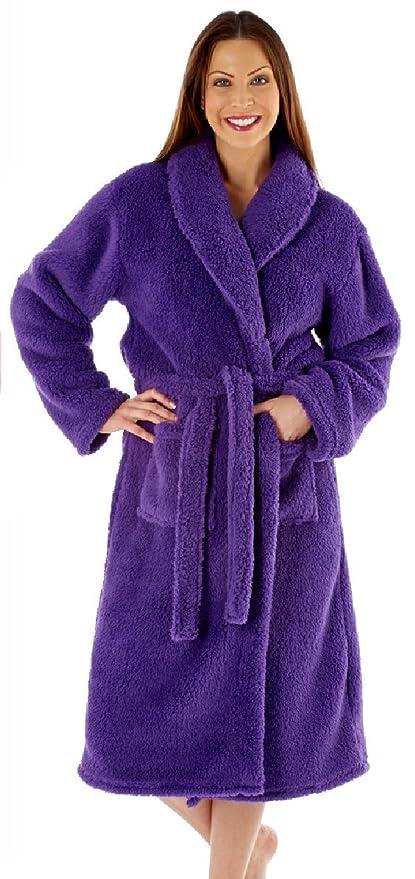 Ladies Luxury Soft Fluffy Fleece Dressing Gown Robe wrap Tie Belt   Amazon.co.uk  Clothing 4cfc78bba