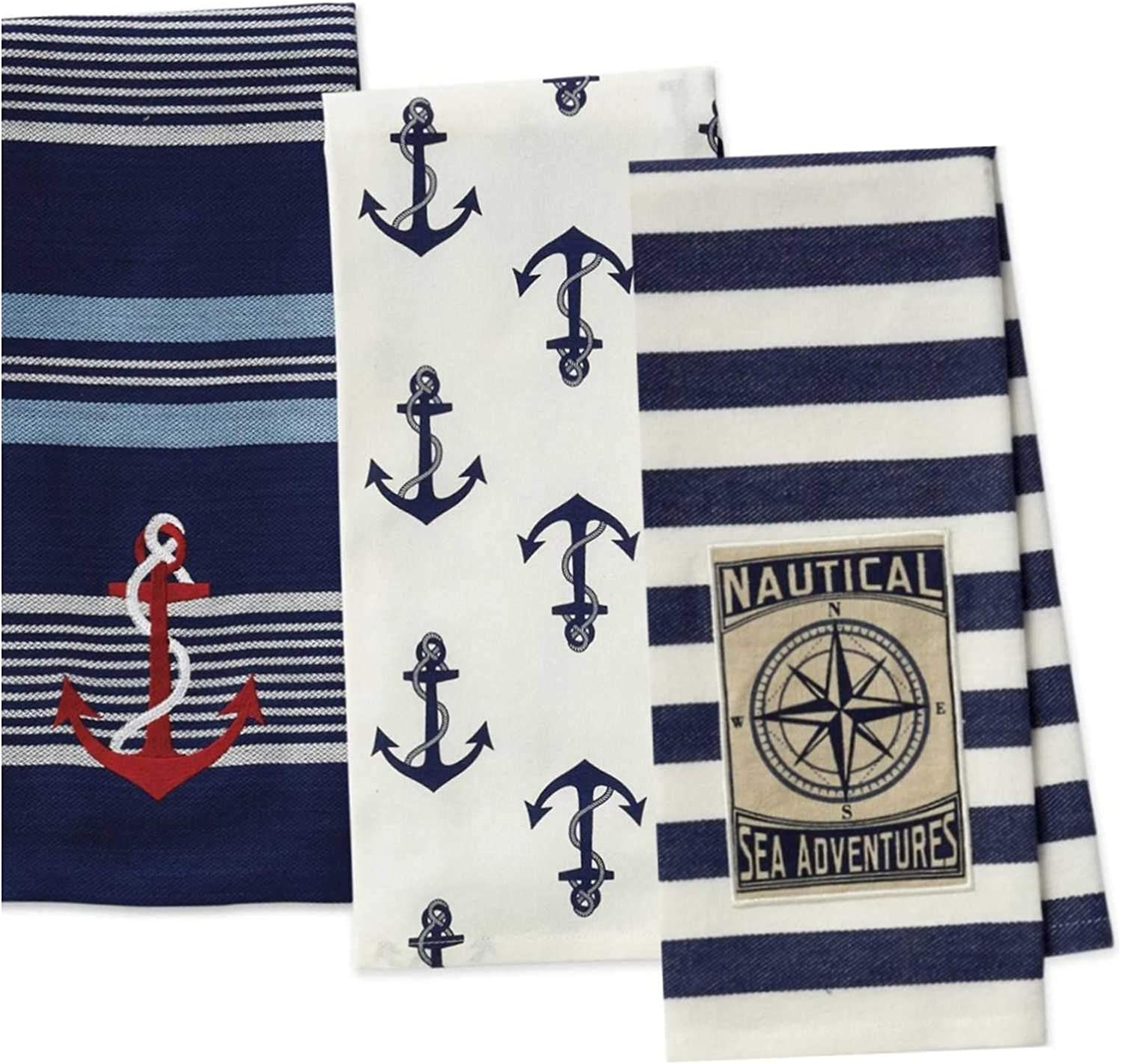 3 Nautical Anchor Themed Decorative Cotton Kitchen Towels with Navy, Red, White, Blue Print | 1 Embroidered and 2 Printed Towel Set for Dish and Hand Drying