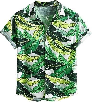 XNBZW Camisa Hawaiana de Manga Corta con Bolsillo Frontal ...