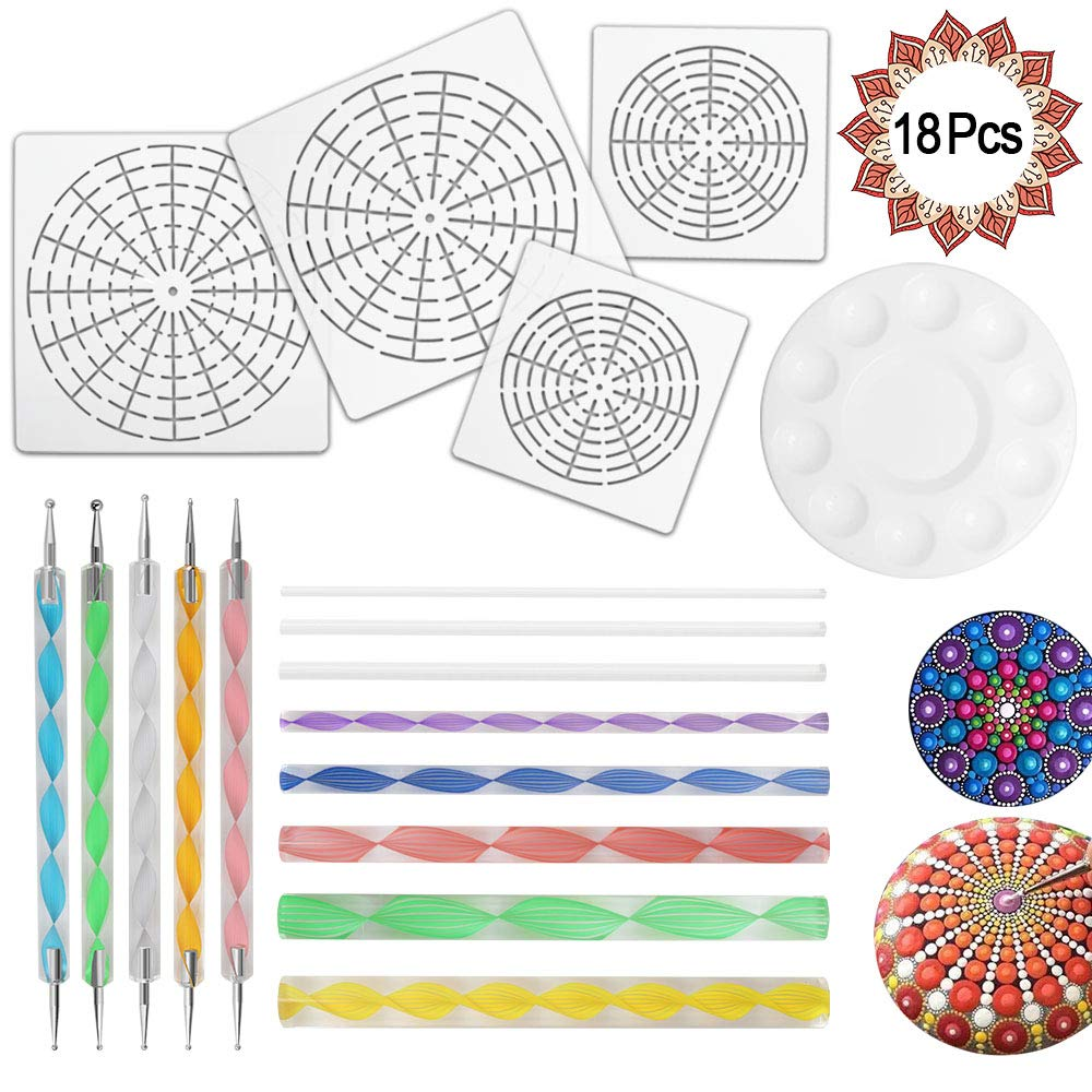 18 Pcs Mandala Dotting Tools for Painting Rocks, Mandala Rock Painting Kit with Mandala Stencil, Acrylic Rods, Double Sided Dotting Tools and Paint Tray Heqishun