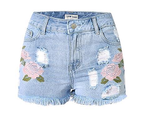 3e1a7403f2 Dreamskull Womens High Waist Frayed Hem Peony Embroidered Denim Shorts Pink  Peony X-Small
