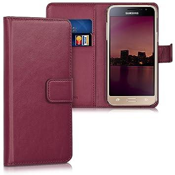 kwmobile Funda para Samsung Galaxy J3 (2016) DUOS - Carcasa de [Cuero sintético] - Case con Tapa y [Tarjetero] en [Burdeos]