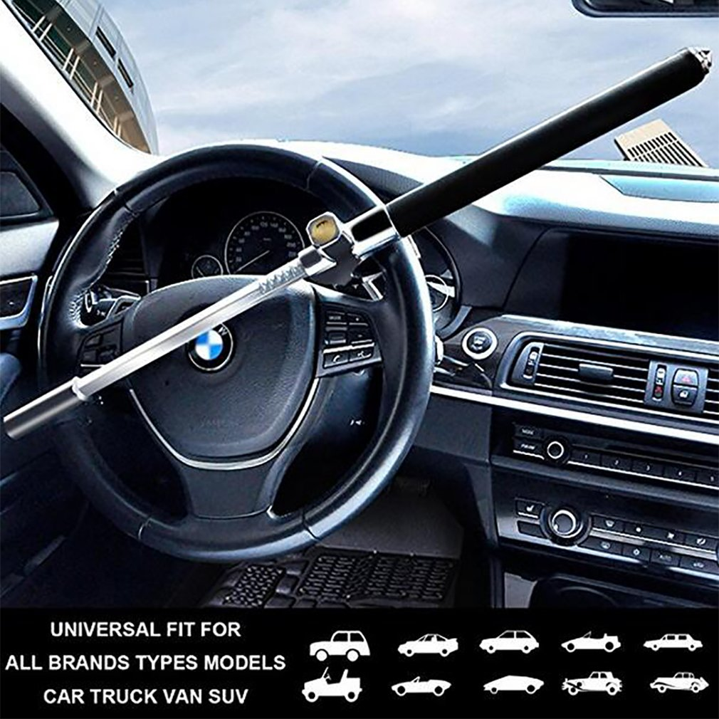 Steering Wheel Lock Adjustable Aluminum Alloy Security Car Locks Anti Theft Security System Accessories With Safety Hammer