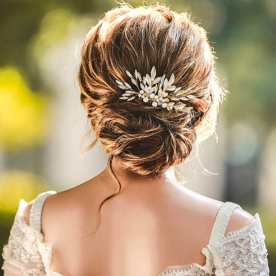 Boho Wedding Hair Accessory Silver Gwendolyn Hair Pin in Clear Butterfly Crystal with White Pearls or Rose Gold Setting Gold