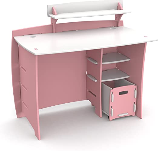 Legaré Furniture Children\'s Desk with Shelves and File Cart Set for Kids,  Princess Series Desk for Bedrooms, Pink and White