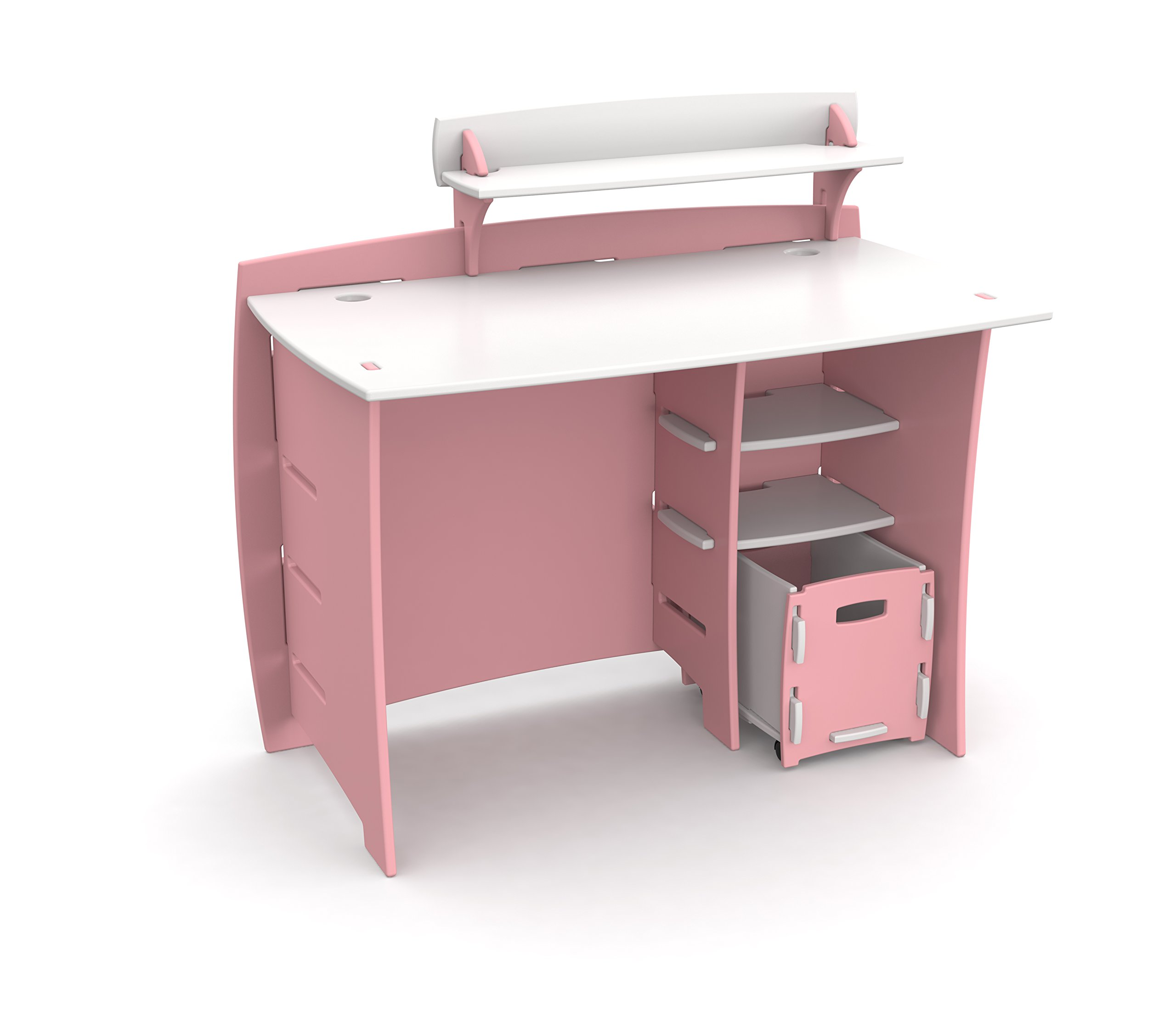 Legare Kids Desk with File Cart, 43-Inches Wide, Pink and White