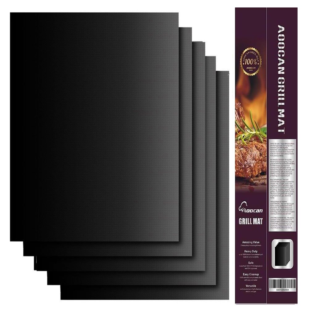 Aoocan Grill mat - Set of 5-100% Non Stick BBQ Grill mats - Reusable, and Easy to Clean Barbecue Grilling Accessories - Work on Gas, Charcoal, Electric Grill and More - 15.75 x 13 Inch, Black