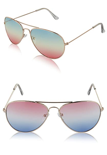 8d6d97624 Classic Aviator Sunglasses Metal Frame Colored Lens Glasses UV400 Protection  (2 pack Green/Pink