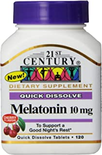 21st Century Melatonin Quick Dissolve Tablets, Cherry, 10 mg, 120 Count (Pack
