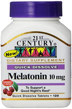 21st Century Melatonin Quick Dissolve Tablets, Cherry, 10 Mg, 120 Count (Pack Of 2) by 21st Century