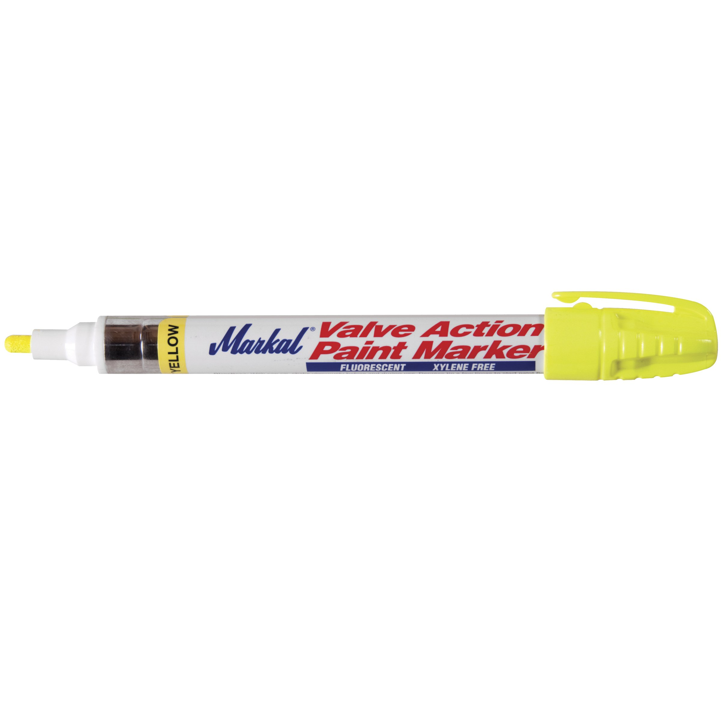 Markal 97050 Valve Action Paint Marker with 1/8'' Bullet Tip, Fluorescent Yellow (12 Markers) by Markal
