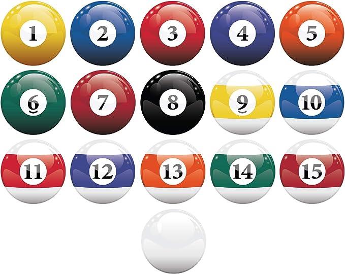 Stickerbrand 16 realistas bolas de billar pegatina de pared juego ...