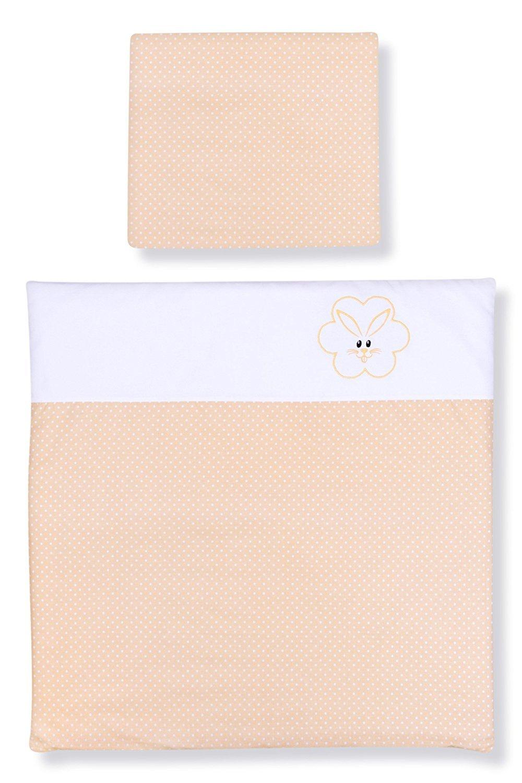 Amilian/® Baby Bettw/äsche Design: P/ünktchen Ecru 35x40 cm 2 tlg. 80x80 cm KANINCHEN