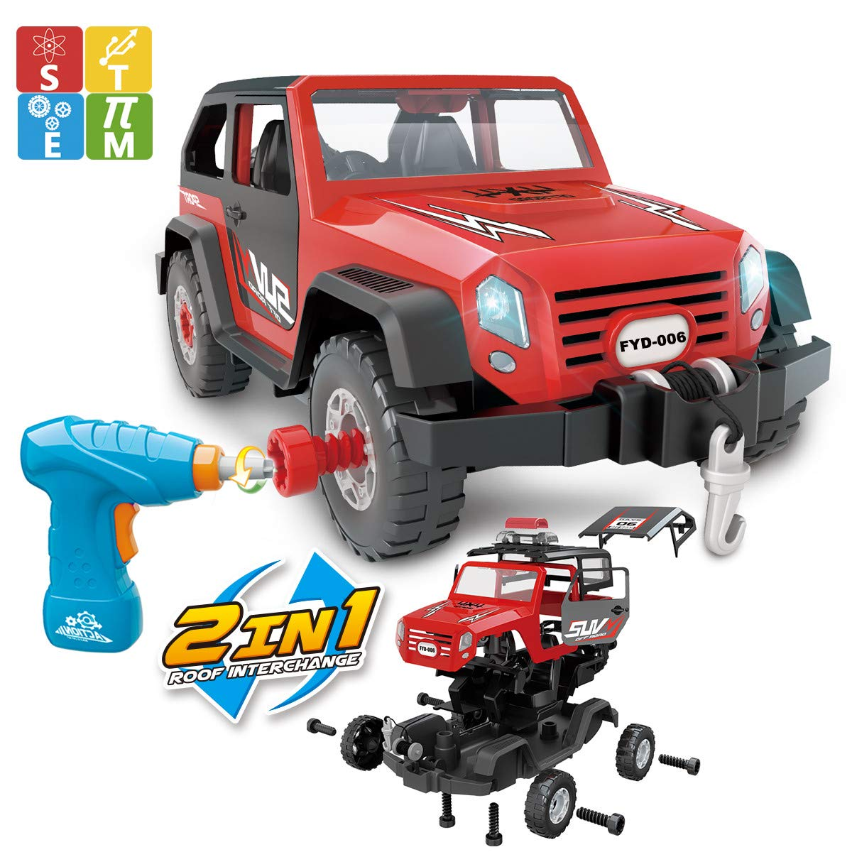 FYD Take Apart Jeep Car STEM Learning Assembly Playset with Functional Battery-Powered Drill - Early Childhood Developmental Skills Construction Toy for Kids Aged 3 and up