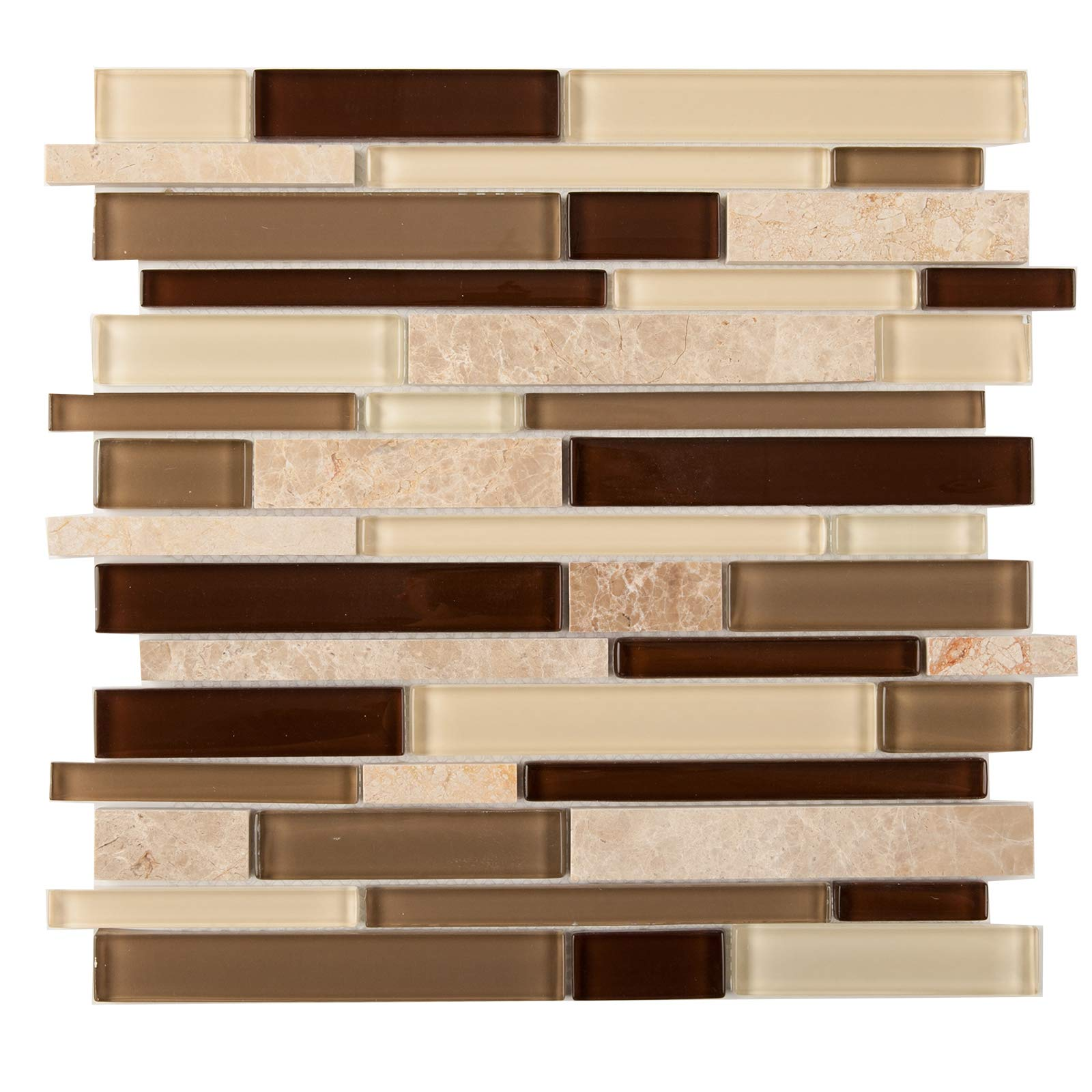 Glass and Stone Mosaic Tile, IL 805, Mixed Strips, 12''x12''x1/4'' (Box of 5 Sheets)