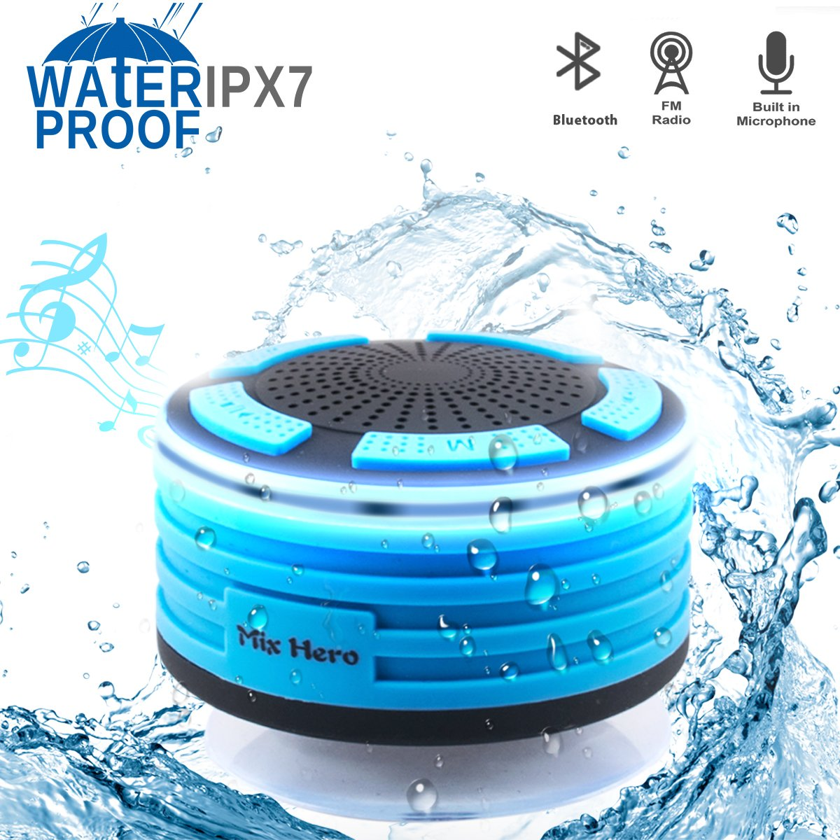 Wireless Waterpoof Bluetooth Speaker Shower Radios with Light, Built in FM Radio and Super Bass, Small Portable Speaker for Bathroom, Outdoor, Car, Beach, Pool (blue)