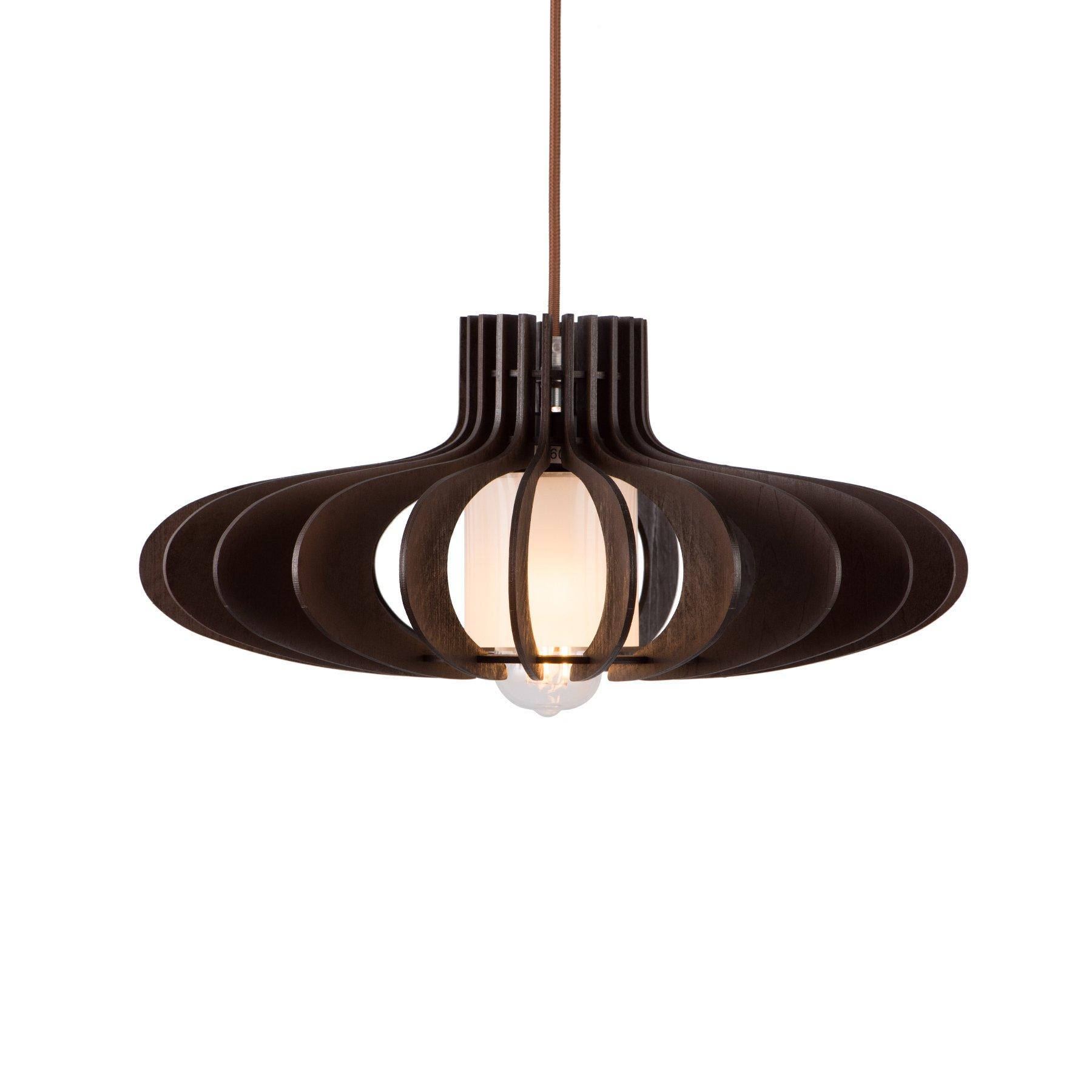 MAYKKE Oban Medium Wooden Pendant Lamp   Lantern Style with Dark Brown Rings, Hanging Light with Adjustable Cord   Walnut Wood Finish, MDB1040201 by Maykke (Image #4)