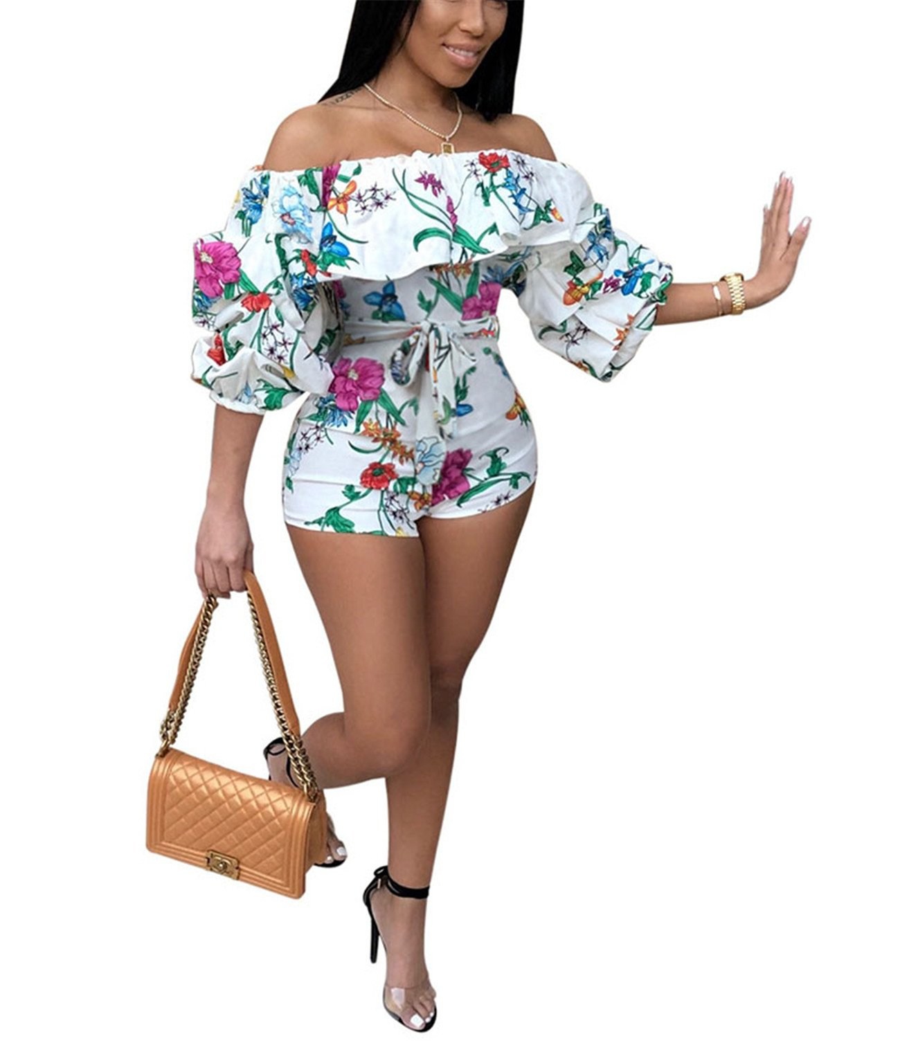 Women Girls Summer Beach Sexy Off Shoulder Wrapped Puff Sleeve Floral Printed Romper Jumpsuit Hot Pants Party Club Mini Dress White L