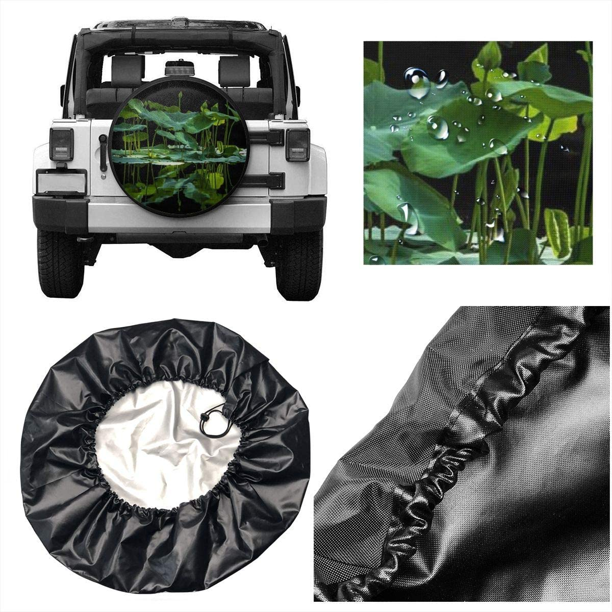 Qklop0 14 15 16 17 18 Universal Lotus Leaf Spare Tire Tyre Cover Wheel Covers for All Cars