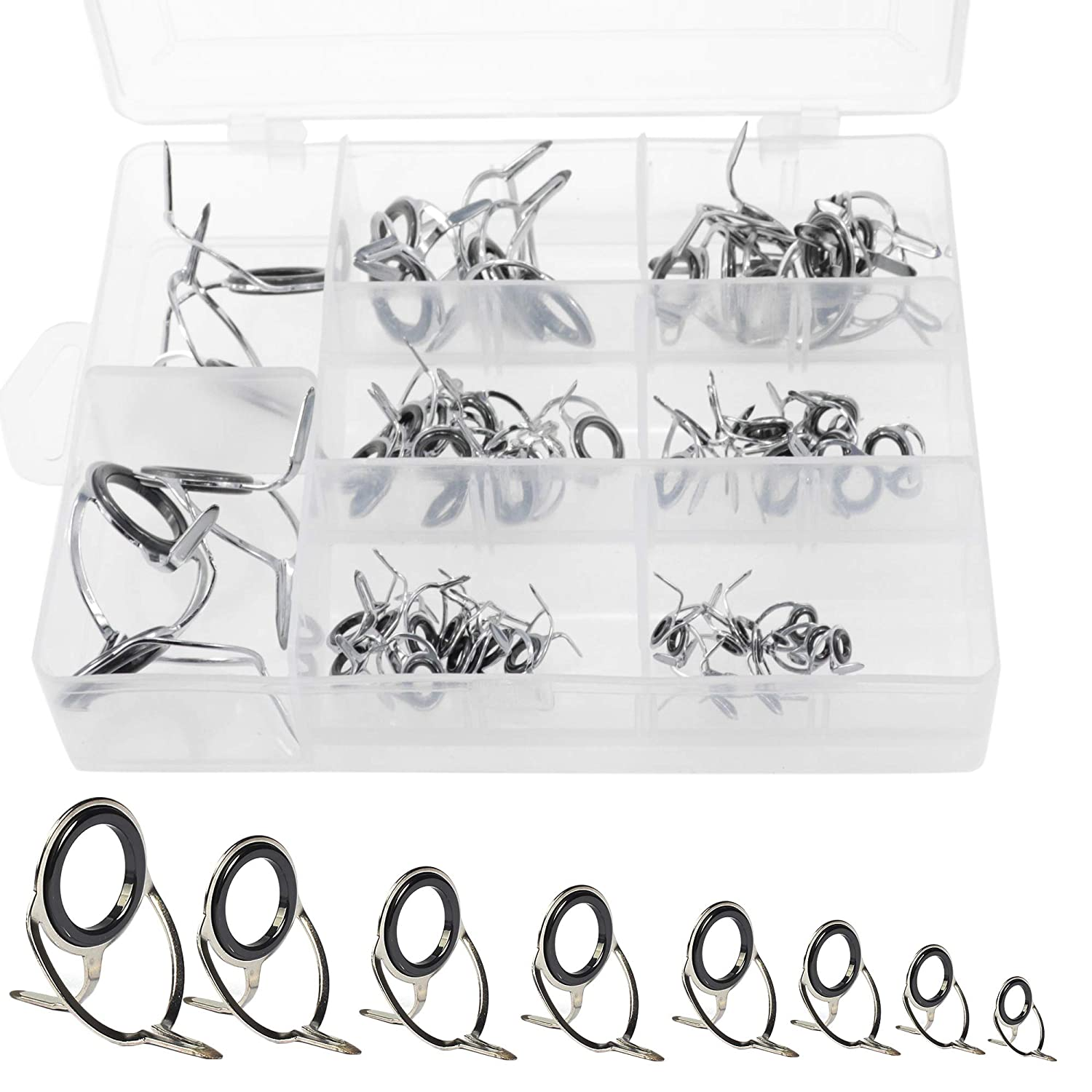 iztor Fishing Rod Guides 60Pcs, Silver Integrated All Stainless Steel Bait Casting Rod Guide Repair Kit