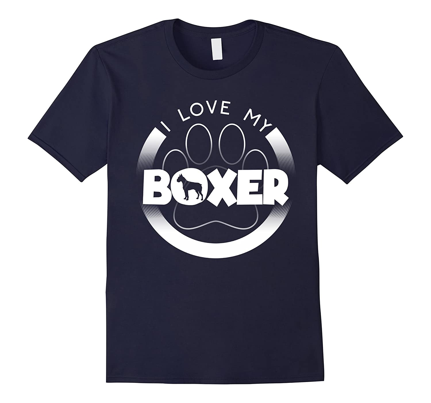 Awesome Boxer T Shirt I Love My Boxer Circle Paw Chunky Fo-TH