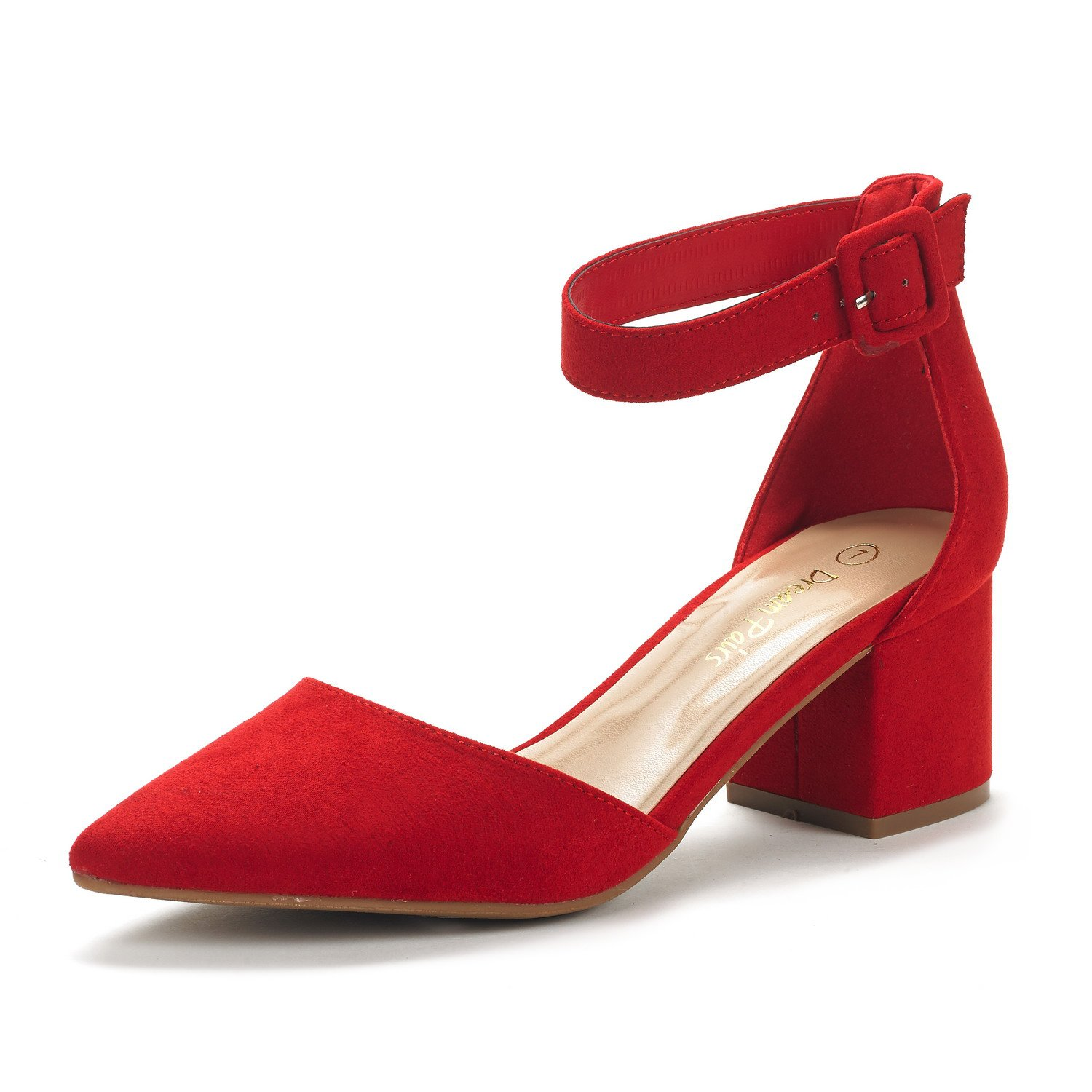 DREAM PAIRS Women's Annee Red Suede Low Heel Pump Shoes - 6.5 M US