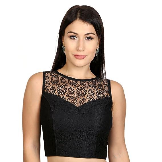 f1f4b8fad4ba4 Rinkoo Women s High Neck Dupion Silk Full Net Padded Princess Cut  Sleeveless Saree Blouse (Black